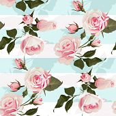 Pink Roses On A Mint Green Stripes Vector Seamless Pattern Flowered Background Of Botany Illustratio poster