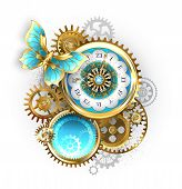 Antique Clock, Decorated With Pattern, With Gold Butterfly And Gold And Brass Gears On White Backgro poster