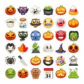 Halloween Emojis Set. Carved Pumpkins, Spooky Ghost And Other Monsters. Horror Zombie Hand Rising Ou poster