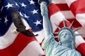 stock photo of statue liberty  - American Flag - JPG