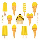 Vector Illustration For Natural Lemon Ice Cream On Stick, In Paper Bowls, Wafer Cones. Ice Cream Con poster