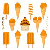 Vector Illustration For Natural Pumpkin Ice Cream On Stick, In Paper Bowls, Wafer Cones. Ice Cream C poster