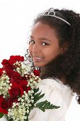picture of pageant  - Beautiful six year old girl in pageant dress wearing tiara and holding bouquet of red roses - JPG