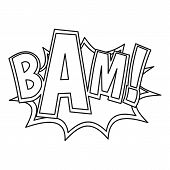 Bam, Explosion Effect Icon. Outline Illustration Of Bam, Explosion Effect Icon For Web poster