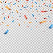 Color Confetti. Falling Confetti Ribbons Isolated. Party Celebration, Carnival Surprise And Fiesta V poster