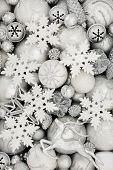 Christmas background with white and silver baubles with star, snowflake, reindeer, snowflake, balls  poster
