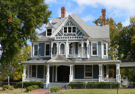 stock photo of victorian houses  - historic victorian style house - JPG