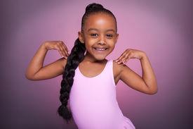 picture of ballet dancer  - Portrait of a cute little African American girl dancing - JPG
