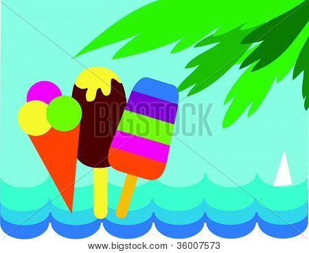 colorful ice-creams on sea and palm background