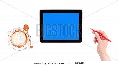 Digital Tablet With Empty Blue Screen, Hand With Red Pencil And Cup Of Coffee