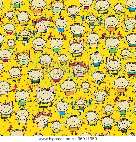 Background with cartoon kids