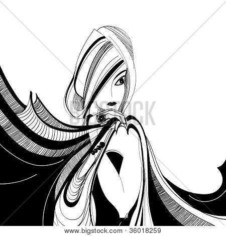 Stylized Black And White Drawing Of Beautiful Girl With Scarf