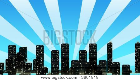 Cityscape Skyline With Sun Rays Overshadowing Buildings