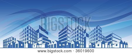 City Silhouette With Different Types Of Buildings Over Blue Sky. Eps10
