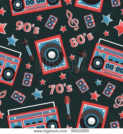 Vector retro music elements seamless pattern