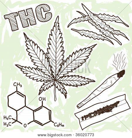 Ilustración de narcóticos - marihuana