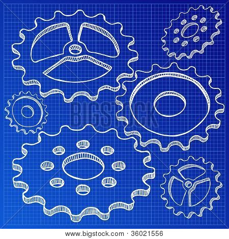 Illustration Of Gears On Blueprint