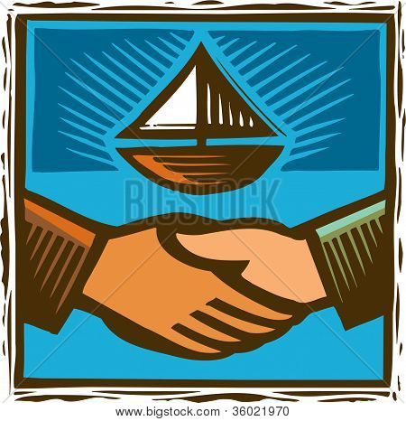 An Image Of Two Hands Shaking With A Sail Boat In The Background