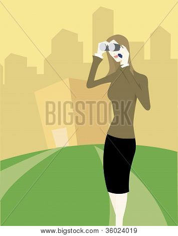 Woman Looking Through Binoculars While Talking On Her Cell Phone