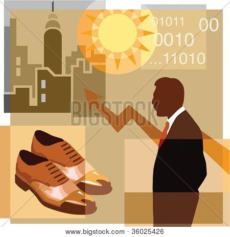A Montage Of A Man; Pair Of Shoes; Sun; Graph; High-rise Buildings And Computer Code