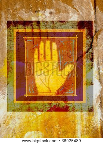 A Framed Palm Of A Human Hand Against A Distressed Background