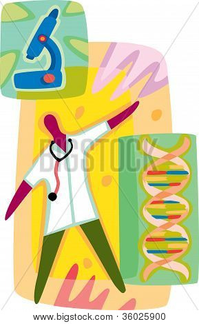 A Doctor Analysing The Dna