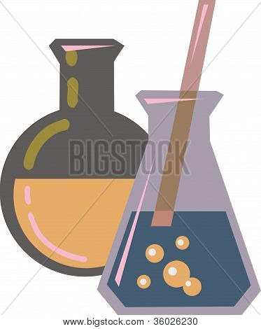 Illustration Of Chemicals In Beakers