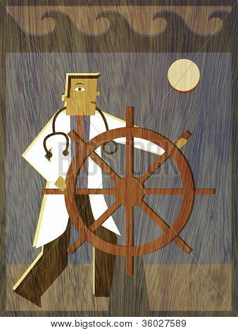 A Physician Steering A Ship