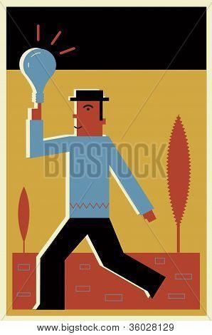 A Businessman Holding A Lightbulb
