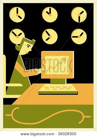 Woman Working At A Computer In Front Of International Clocks