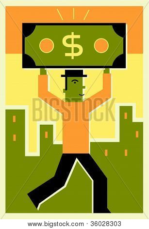 Man Holding A Dollar Bill Over His Head