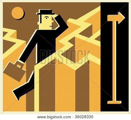 A Businessman Running Through A Maze