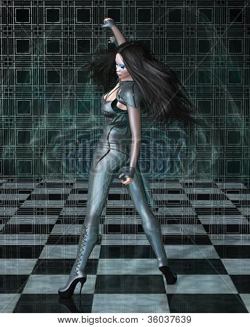 Catsuit Woman Reflections