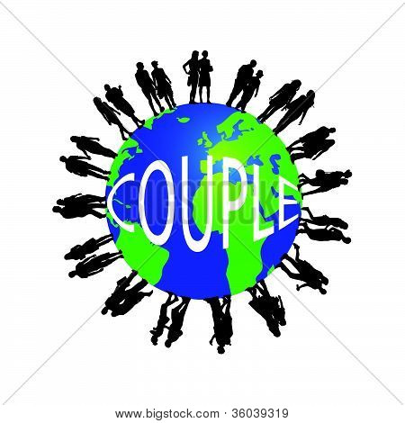 Couple And The Globe Vector