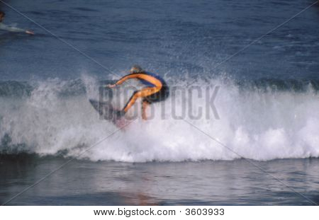 Surfer Ready To Wipe Out