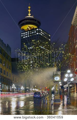 Vancouver Bc Gastown Rainy Night
