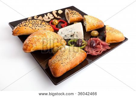 Selection of Bread Stuffed Mushroom, Blue Cheese and Pastrami