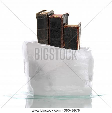Stack Of Very Old Prayer Books Captured In Ice