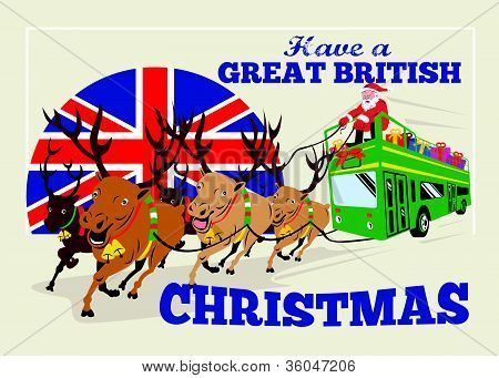 Great British Christmas Santa Reindeer Doube Decker Bus