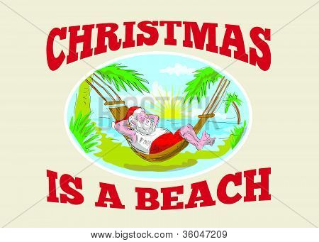 Santa Claus Father Christmas Beach Relaxing