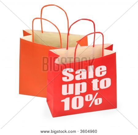 Two Shopping Bags On White