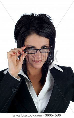 Business Woman Peering Over Her Glasses