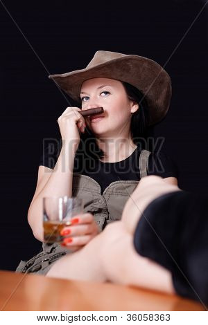 Brunette With Whiskey And Cigar In Hand