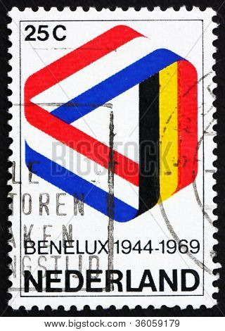 Postage stamp Netherlands 1969 Mobius Strip in Benelux Colors