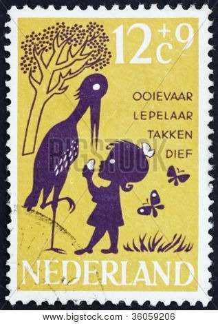 Postage stamp Netherlands 1963 Storky, Storky, Billy Spoon, Nurs