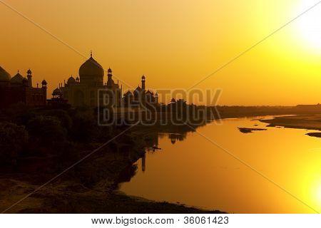 Taj Mahal sunset silhouette.