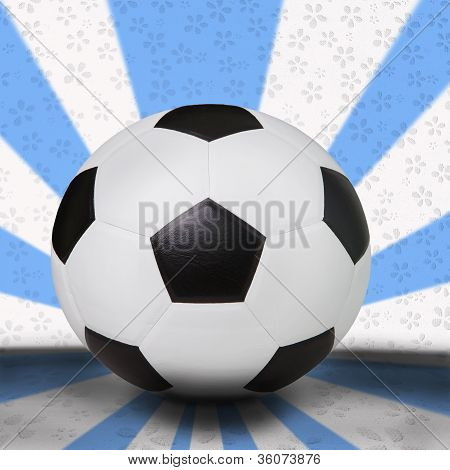 soccer football on light blue background