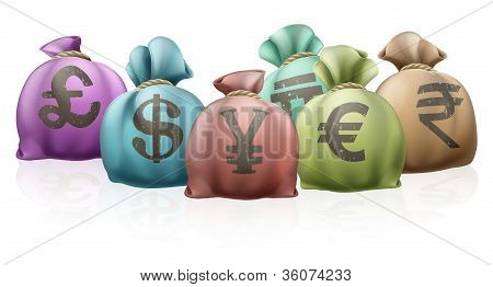 Different Country Money Bags