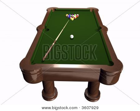 3D Pool Table On White