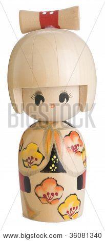 Kokeshi Wooden Japanese Doll Isolated on White Background